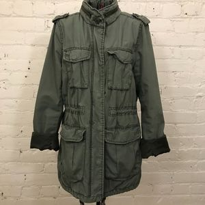 Divided Green Cargo Field Utility Military Jacket